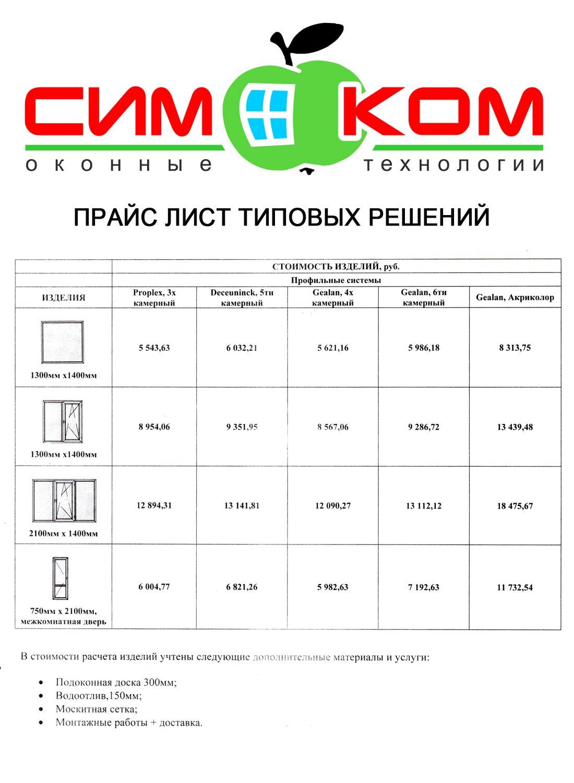 Прайс лист на пластиковые, металлопластиковые окна, двери и другие конструкции в Краснодаре.